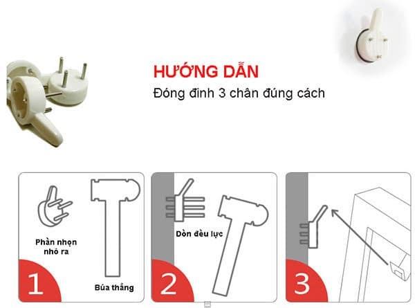 hướng dẫn đóng đinh 3 chân lên tường đơn giản