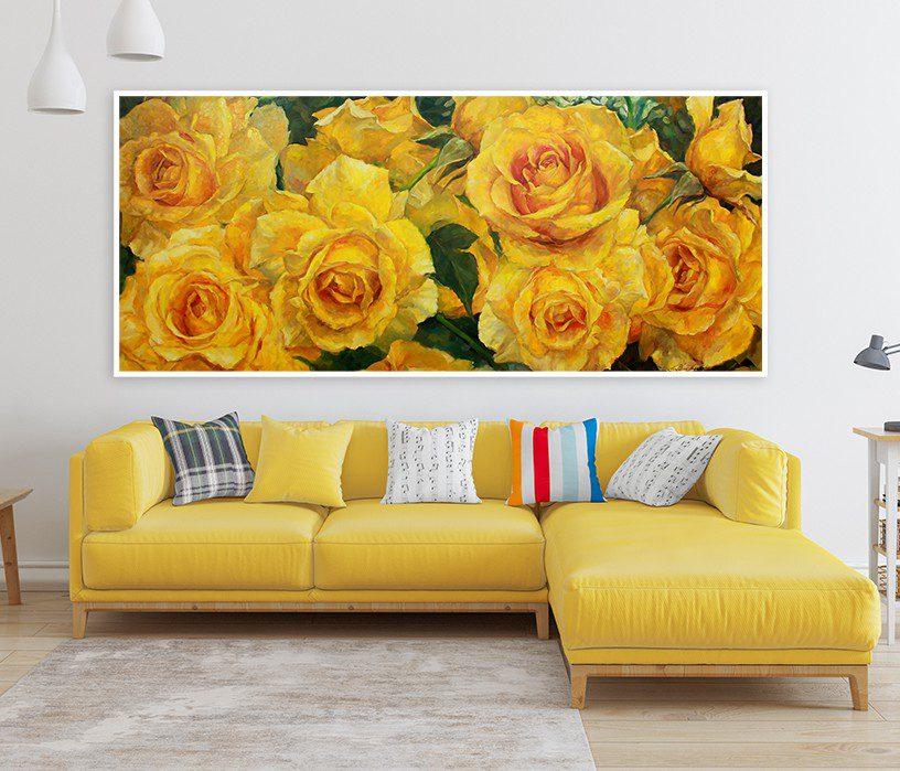 01 trừu tượng thiên nhiên hoa hồng vàng lá xanh chữ nhật