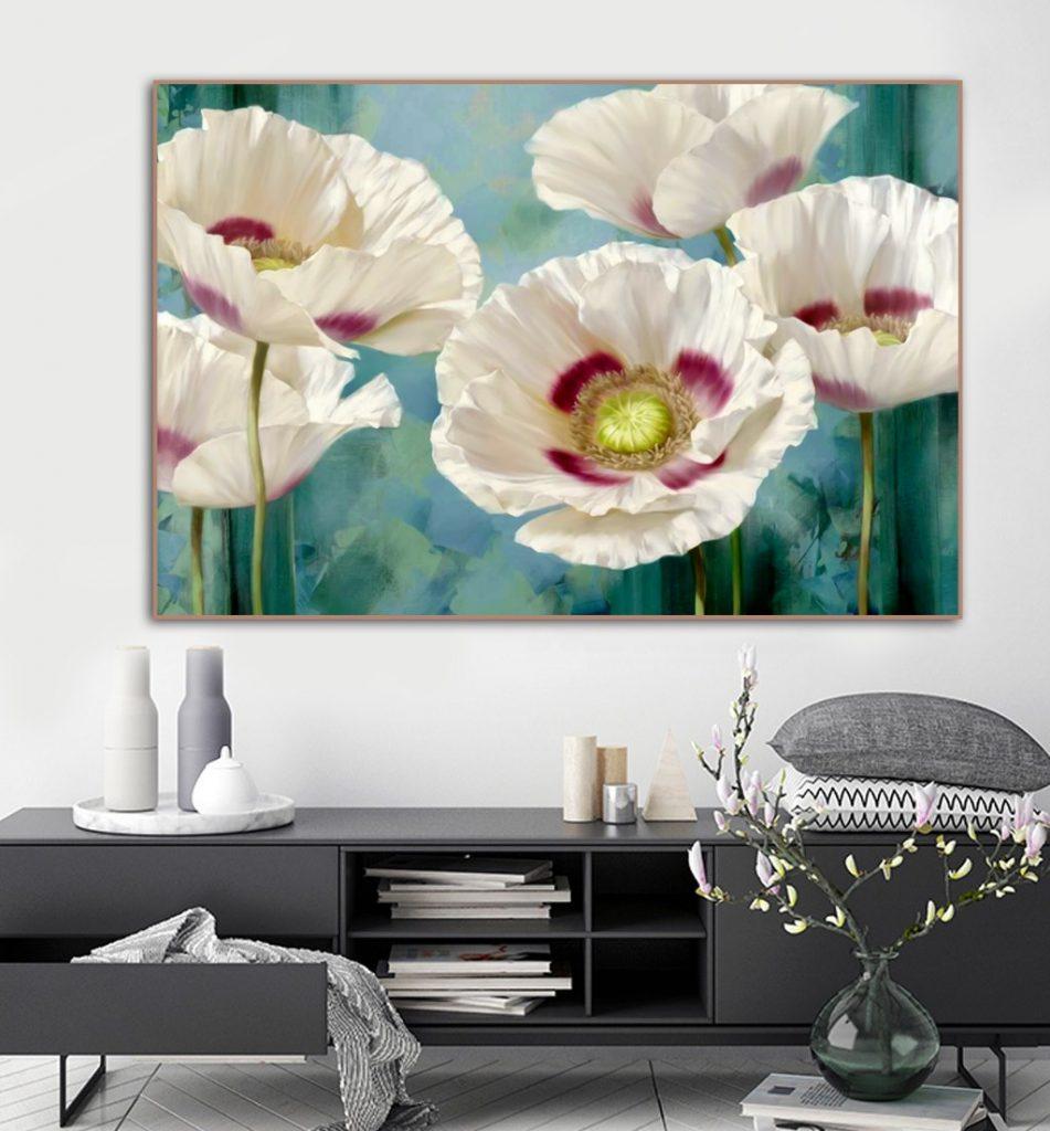 Tranh sơn dầu hoa poppy trắng