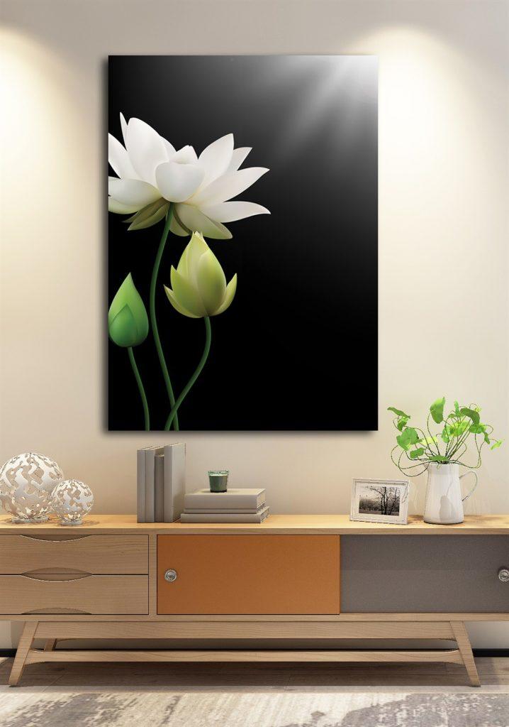 tranh hoa sen phong khach 136