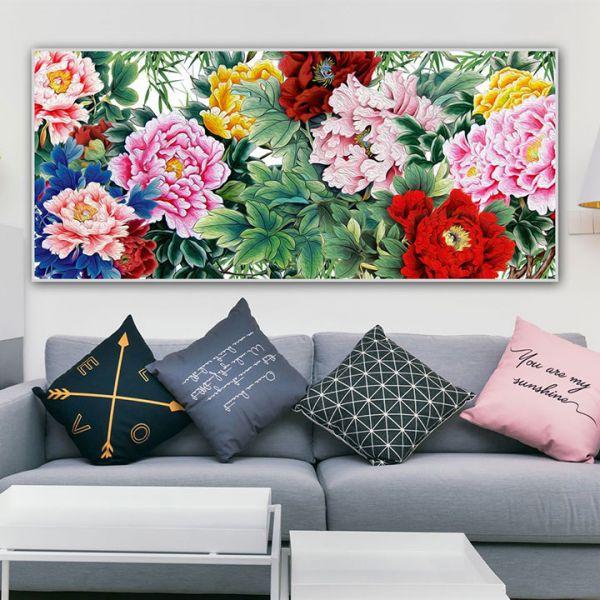 tranh son dau hoa mau don 130