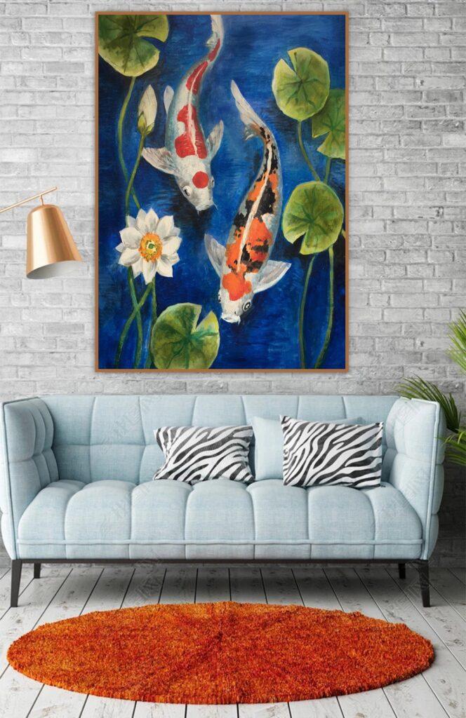 tranh hoa sen phong khach 11