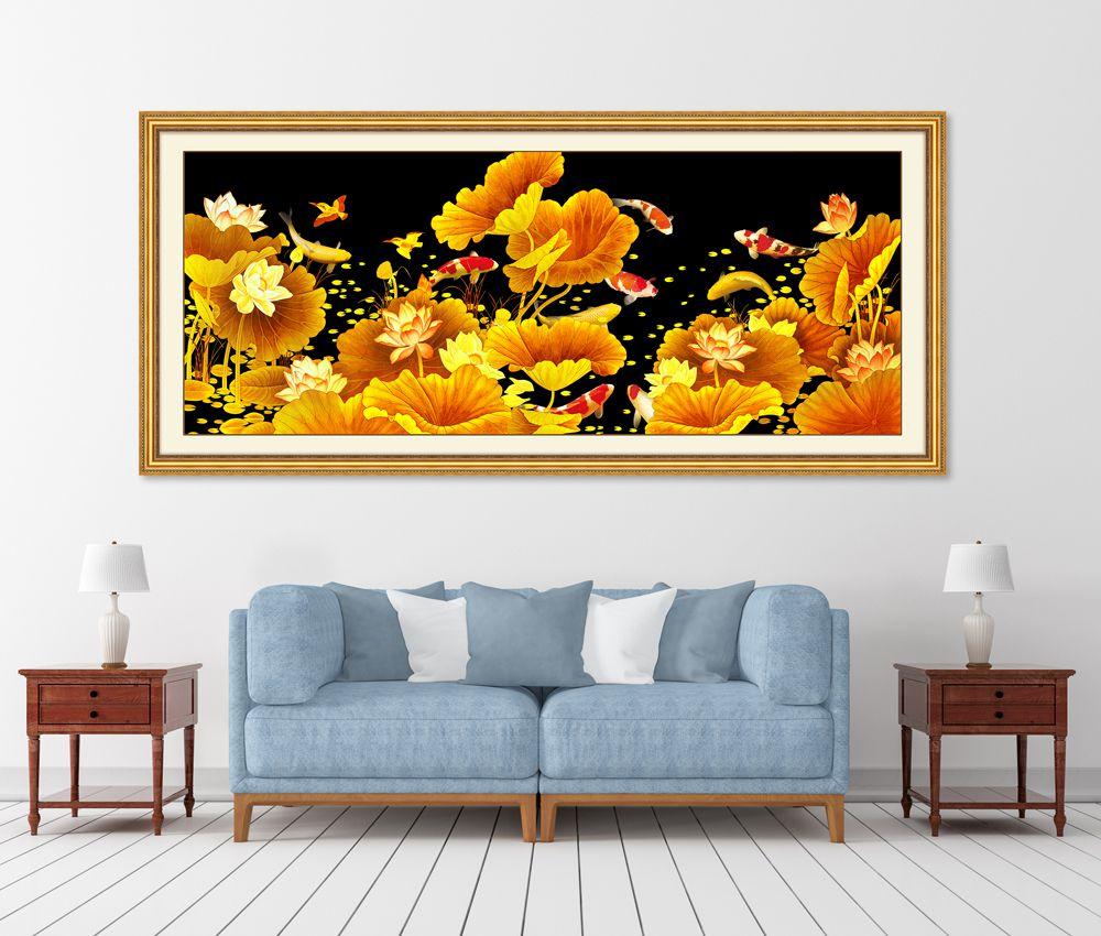 Tranh hoa sen phòng khách đẹp nhất