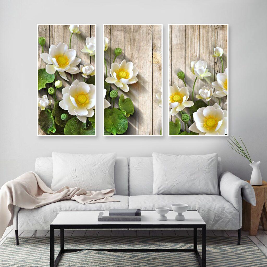 tranh hoa sen phong khach 123