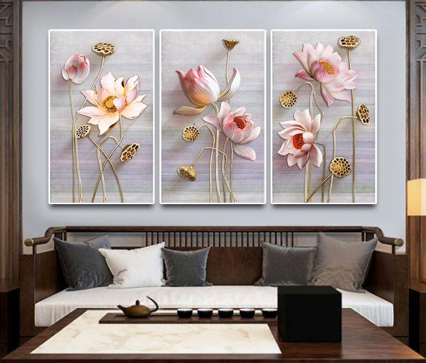 tranh hoa sen phong khach 125