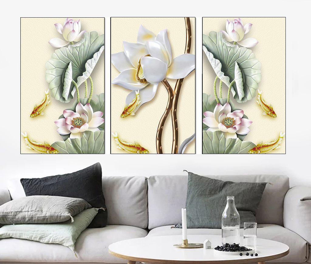 tranh hoa sen phong khach 127