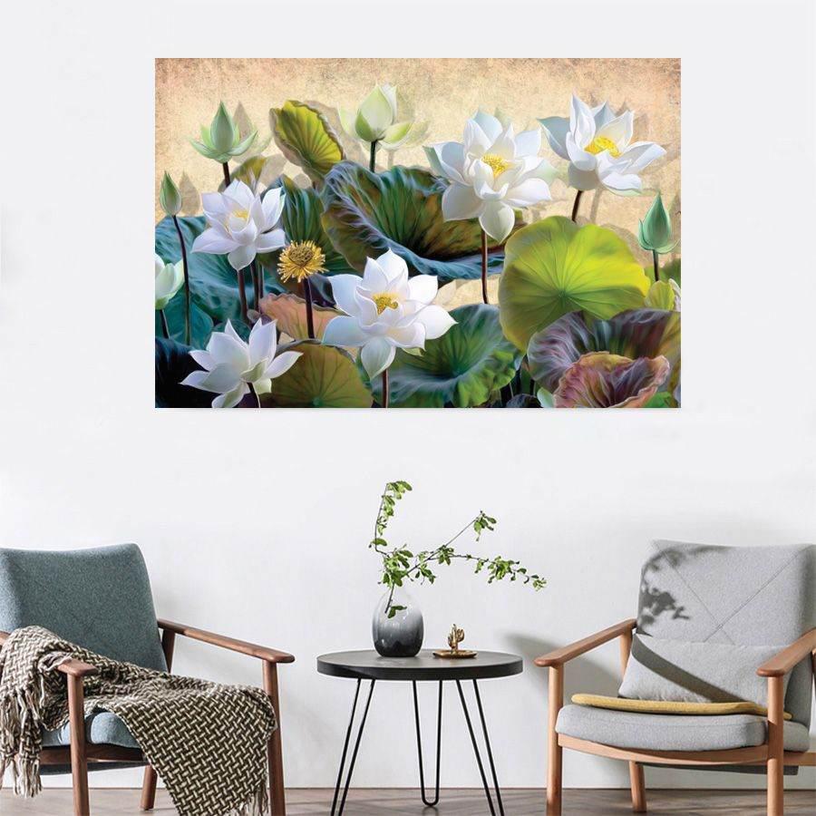 tranh hoa sen phong khach 130