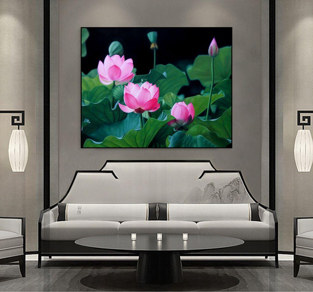 tranh hoa sen phong khach 15