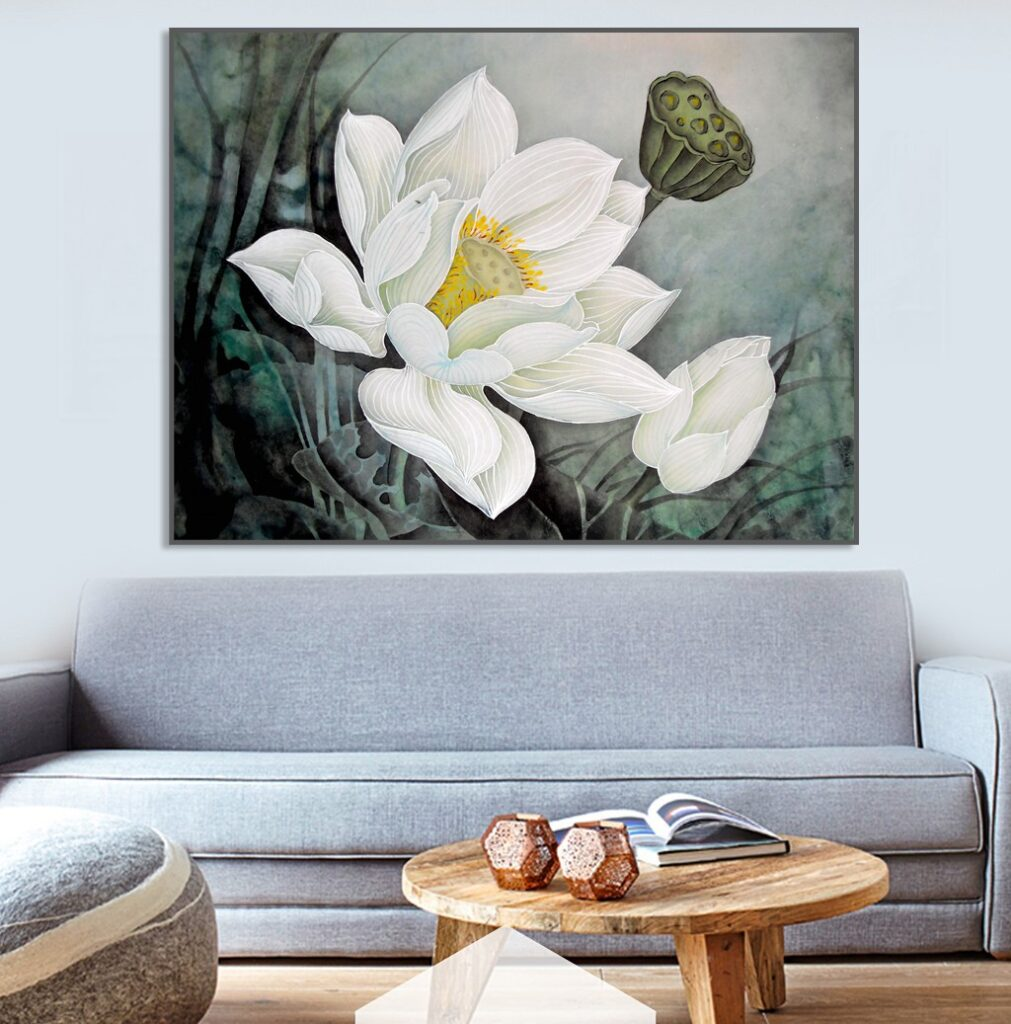 tranh hoa sen phong khach 18
